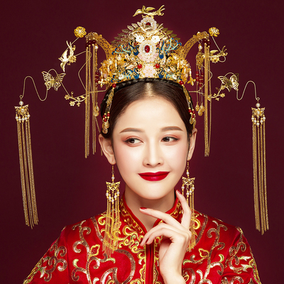 Chinese costume hair accessories Hair Suit Marriage Chinese Luxury Ancient Dress Front Ornament Wedding Dragon and Phoenix Wear Accessories