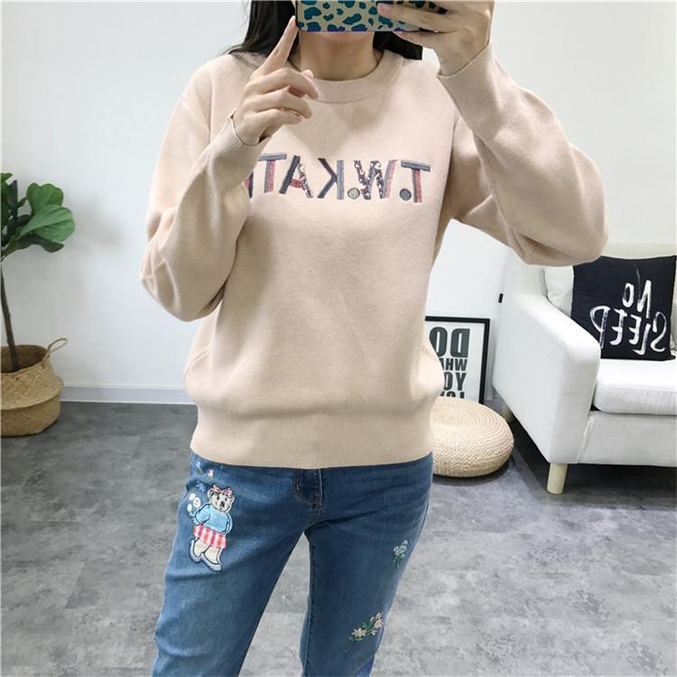 2019秋季新款刺绣圆领字母毛衣女装长袖针织衫MT-TTKW94912A