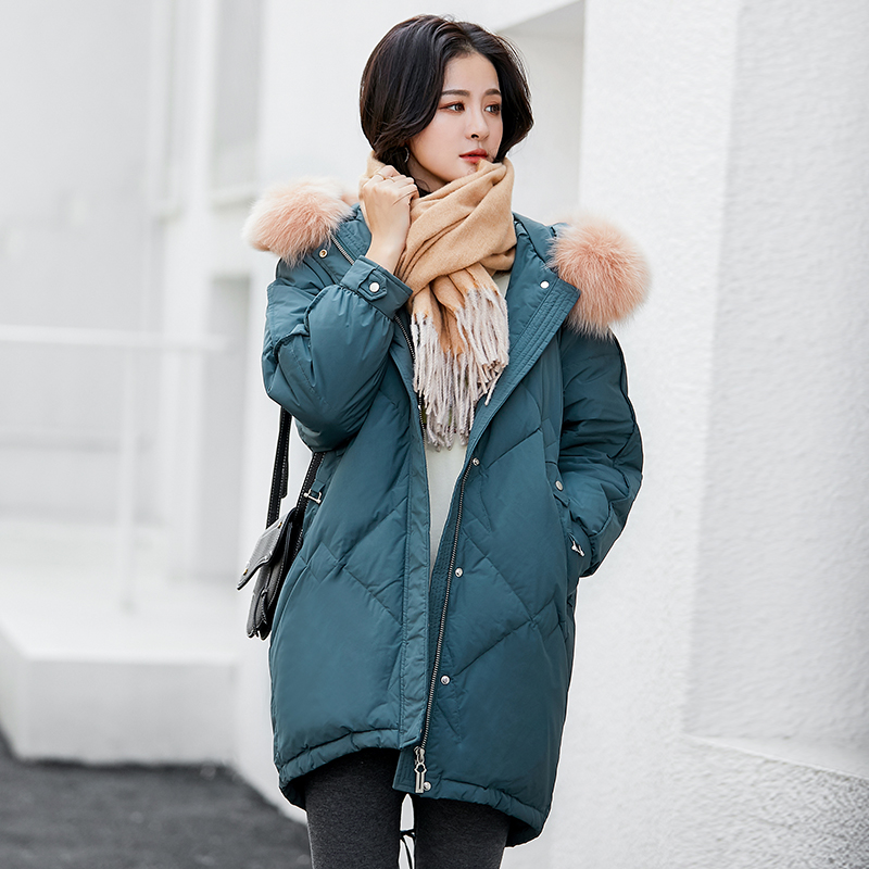 KCOU cool ugly fox wool collar white duck down jacket women 2020 clear sale long winter body building show thin