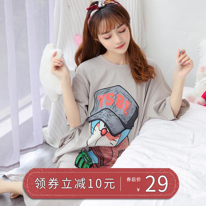 学生女夏季睡衣中长款睡裙纯棉宽松大码韩版孕妇家居服可外穿短袖