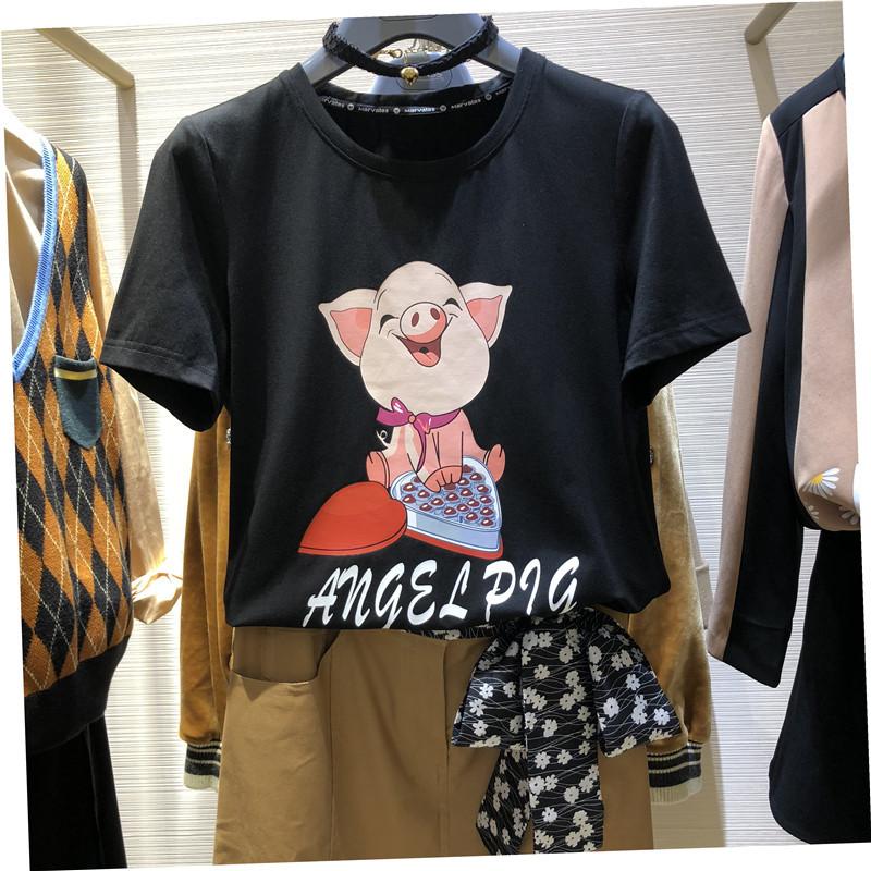 欧阿玛施旗女装2019夏新款正品国内代购宽松生肖小猪短袖T恤女潮