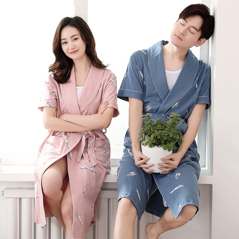 1bb17fe0a2 Men s nightgown female summer cotton short-sleeved bathrobe couple thin  section sexy Korean summer large