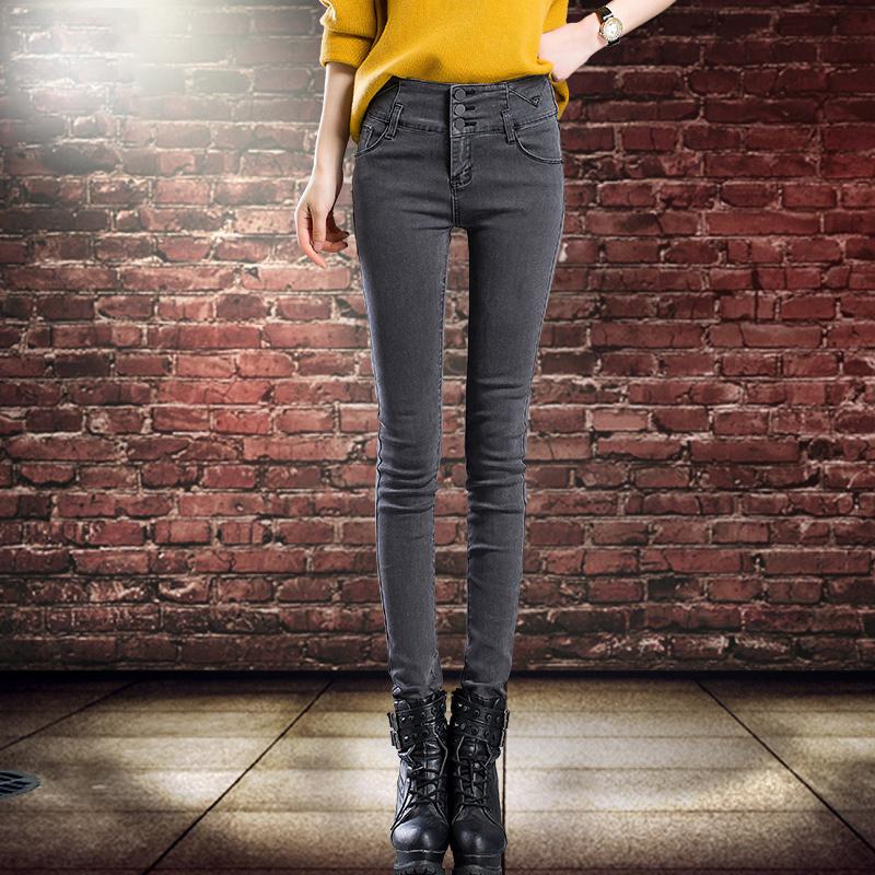 显瘦高腰牛仔裤女裤子长铅笔2018春秋季新款韩版紧身烟灰色小脚裤