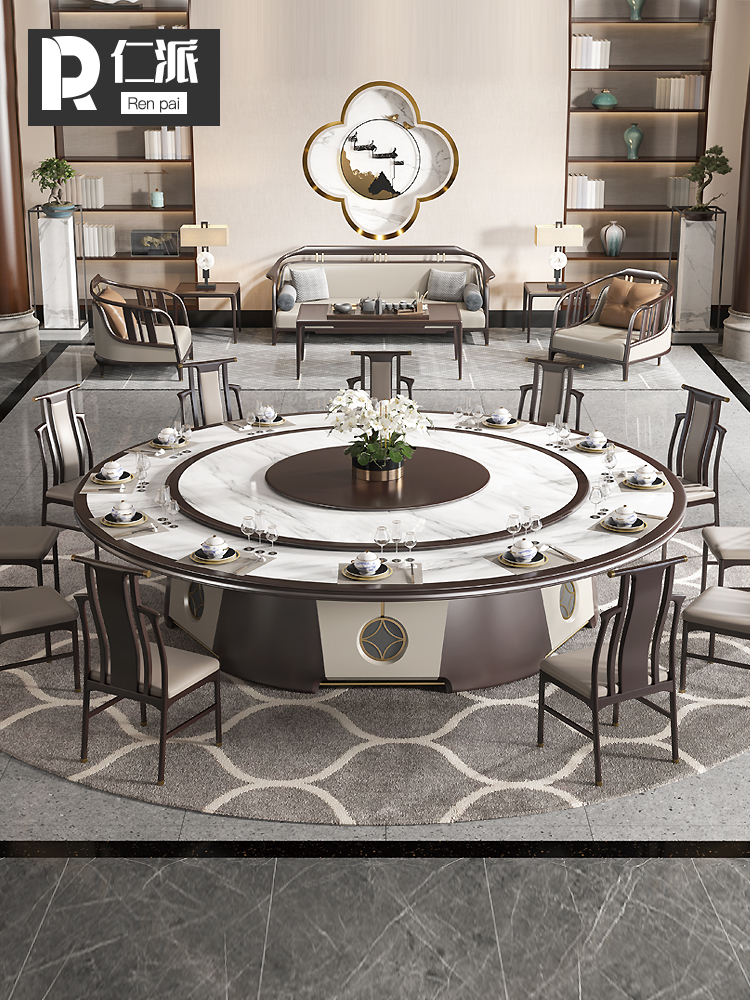 Renpai Hotel New Chinese electric large round table Light luxury marble rock plate dining table Hot pot table Induction cooker one