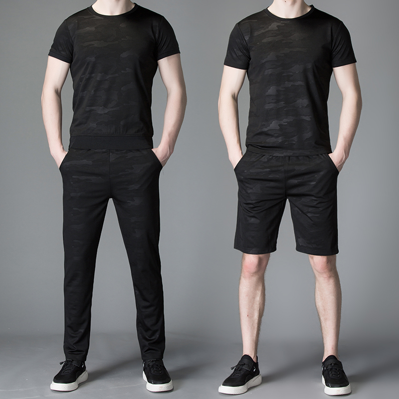 君安踏莎行夏季运动套装男短袖2021新款韩版潮流冰丝休闲服装薄款