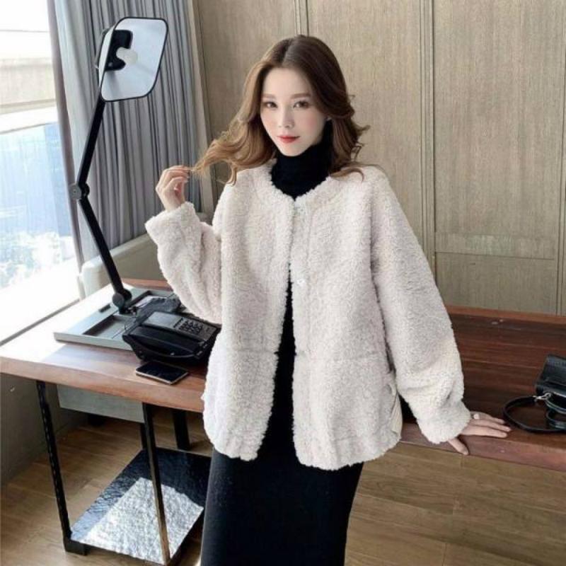 2020秋冬新款小香风外套女韩版百搭网红加绒加厚羊羔绒中长短款潮