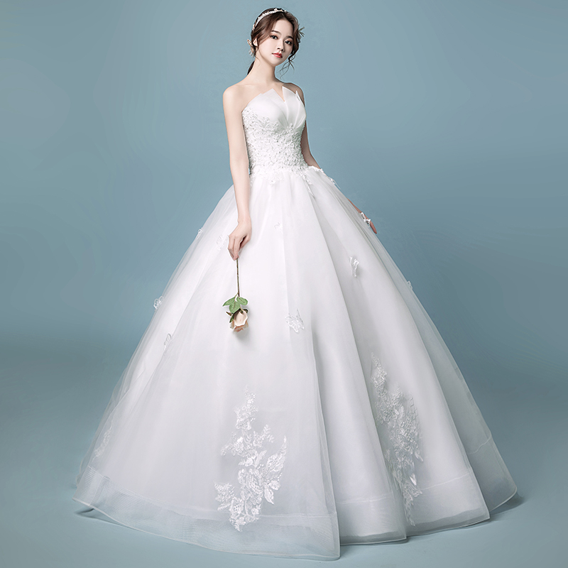 2912999dc15 Tube top wedding dress 2019 new bride married Korean high waist ...