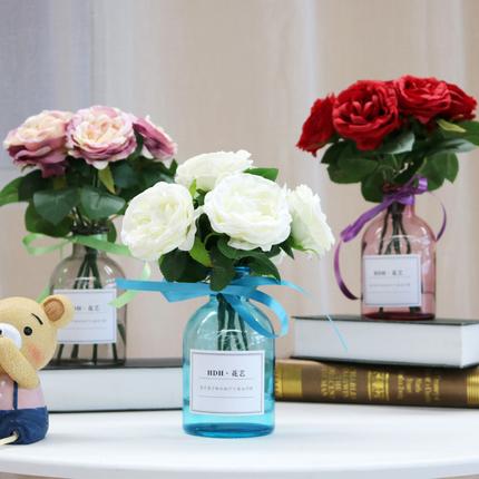 ins风北欧小清新绢花仿真玫瑰花束家居室内餐桌花瓶套装饰品摆件