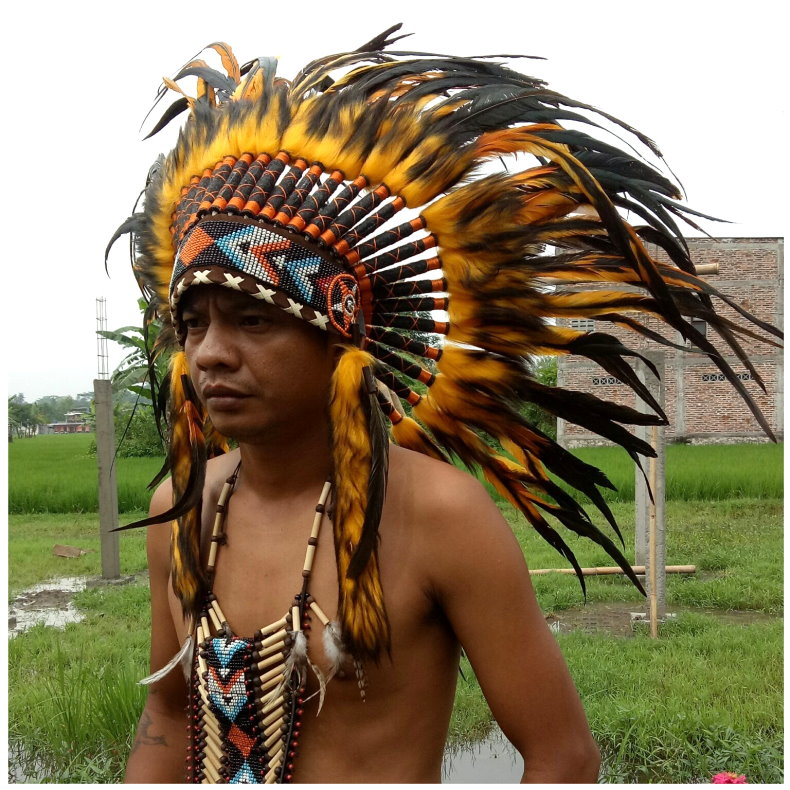 Feather Headdress Chief Indian Headdress American Native Warbonnet Feather Hat S