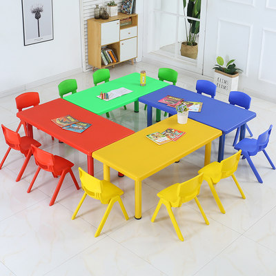 Kindergarten table and chair long square kindergarten table plastic long table children's table and chair set baby desk chair
