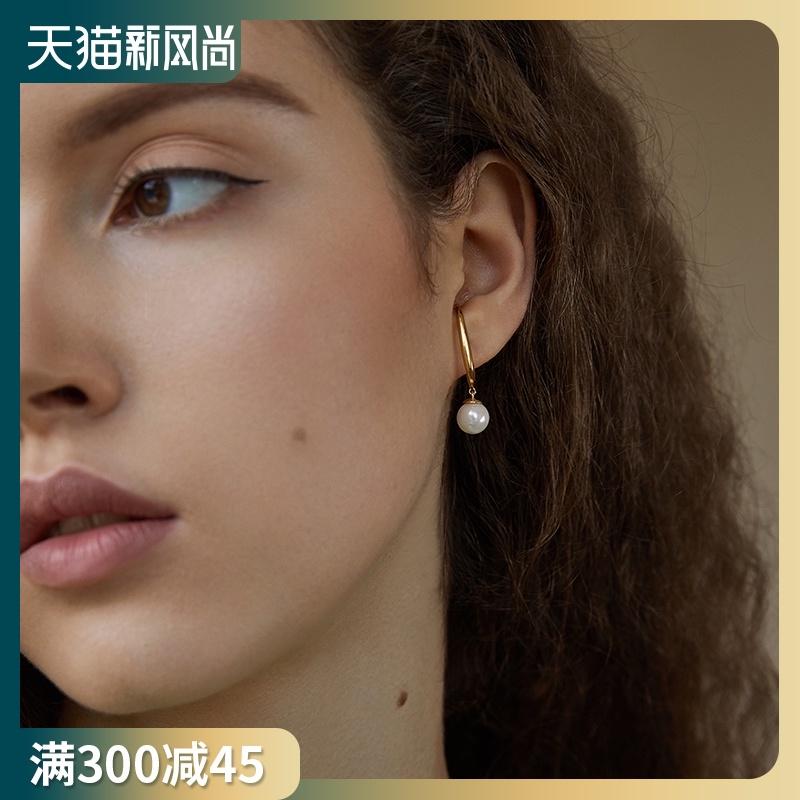 PN ear clip type no ear pierced earrings women's earrings sterling silver simple French vintage ear pin clip ear bone clip pearl ear hook