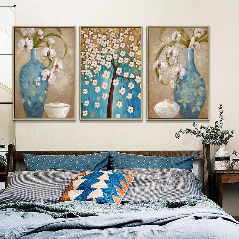 欧式客厅装饰画芯打印大气富贵花瓶发财树书房办公室高清喷油画布