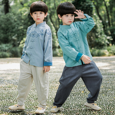 Boys Tang Suit for Kids Hanfu boys and children's Tang clothing season Chinese style children's clothes Chinese ancient clothes baby children's Retro national spring clothes