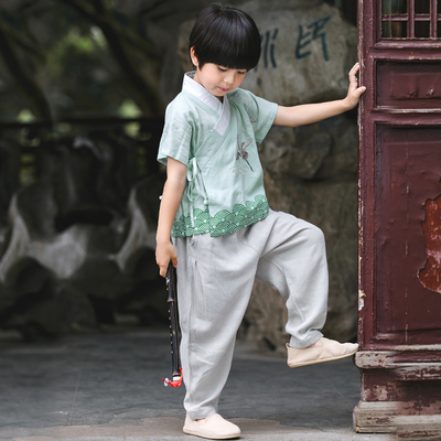 Boys Tang Suit for Kids Hanfu boy's Tang suit children's Chinese style summer dress baby Chinese style retro suit thin national clothing children's clothing