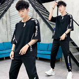 Short sleeve men's five-point sleeve T-shirt leisure suit men's summer trend set with handsome INS new summer dress
