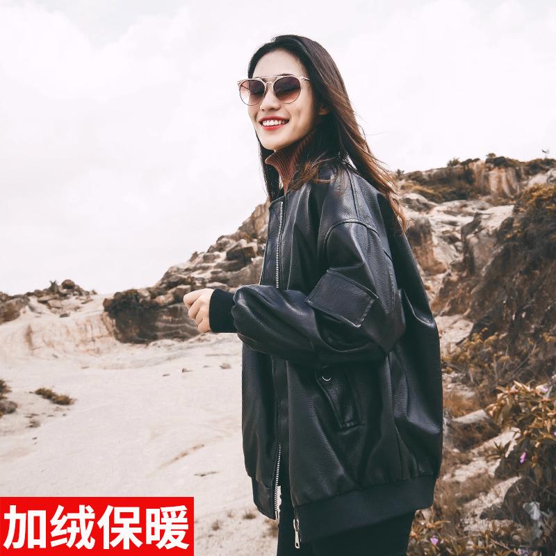 棒球服皮衣女ulzzang外套2018新款港风韩版宽松机车pu皮chic加绒