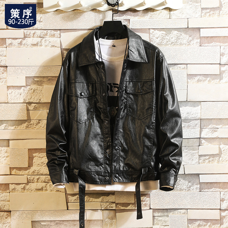 Fat short leather jacket men fat increase the code Korean version of the trend handsome loose PU locomotive leather men's jacket