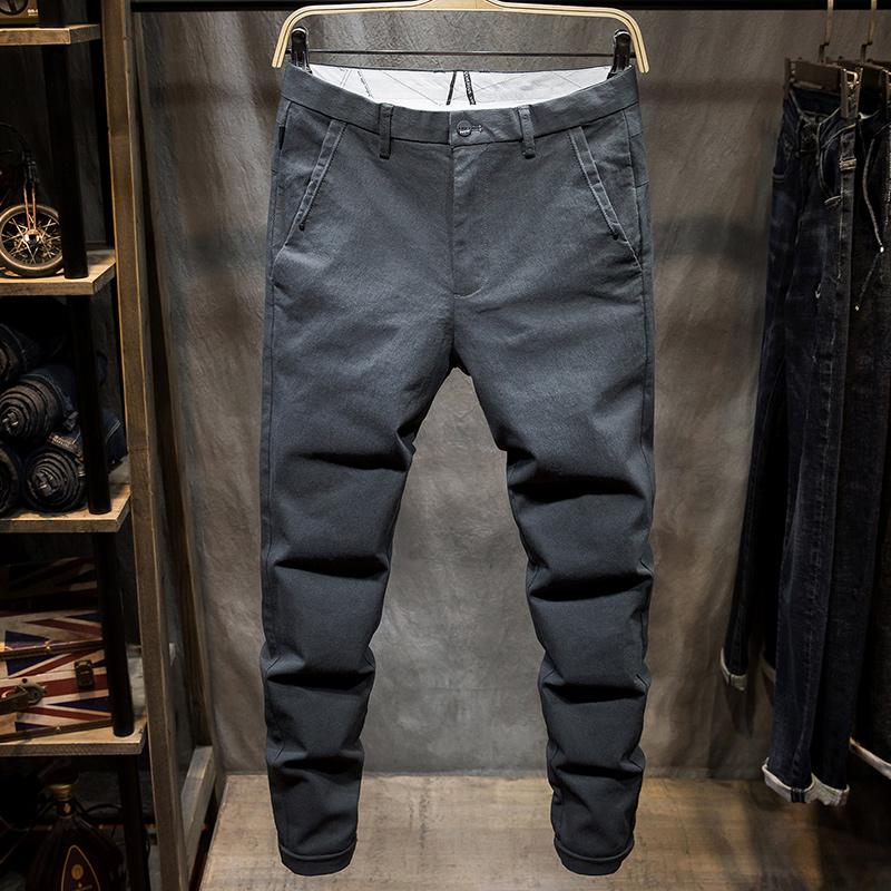 Quần skinny mỏng màu xám nam chân mỏng quần xu hướng Hàn Quốc trẻ nhỏ giặt quần dài mùa hè quần dài - Quần