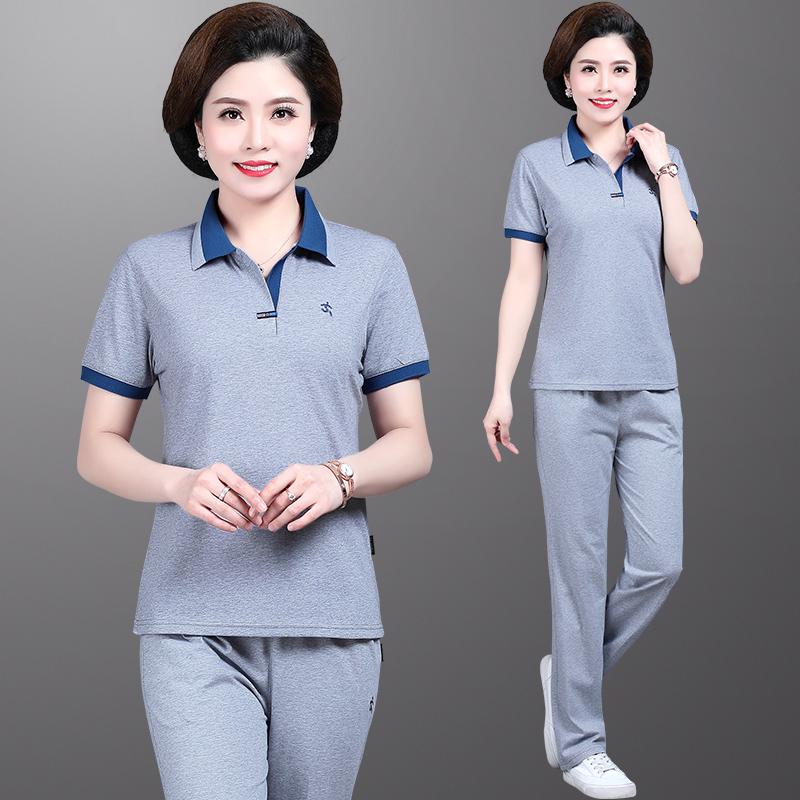 Mẹ mùa hè trung niên và người già thể thao phù hợp với phụ nữ trung niên rộng vợ phù hợp với áo thun ngắn tay quần áo hai mảnh - Quần áo của mẹ