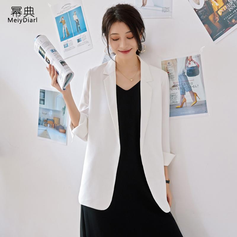 雪纺西装外套女夏薄款2019新款网红宽松v雪纺气质白色防晒小西服