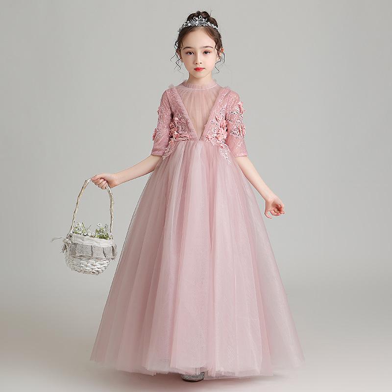 Công chúa váy cô gái phồng gạc hoa cô gái váy cô gái nhỏ chủ nhà biểu diễn đàn piano quần áo phong cách phương Tây váy cưới - Váy trẻ em