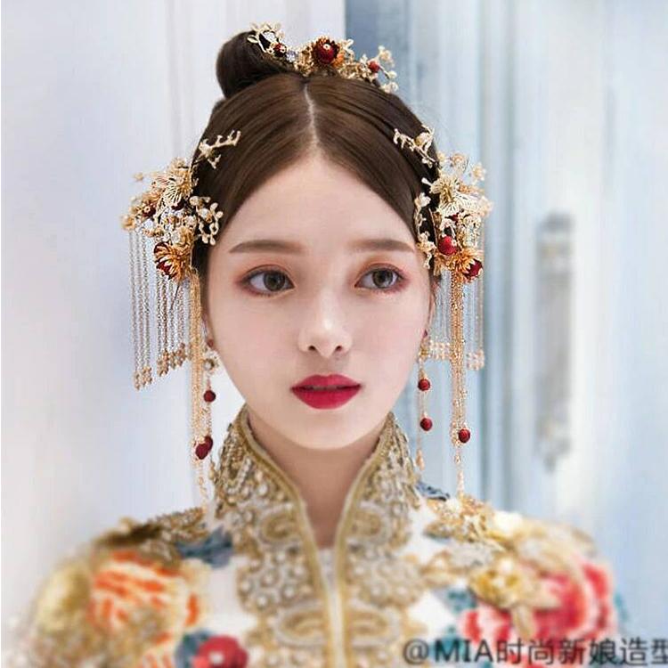 新款古装旗袍复古步摇新娘凤冠中式头饰套装秀禾服流苏饰品配婚礼