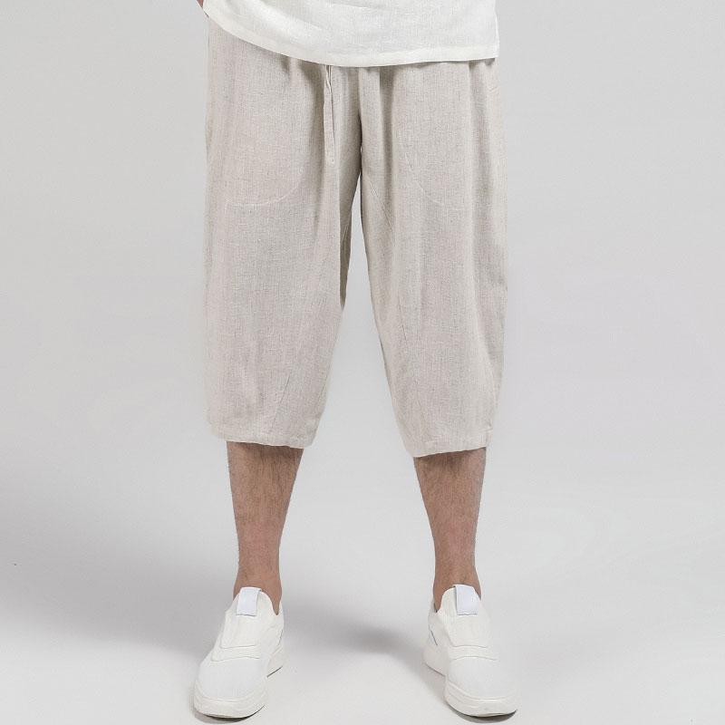 玄笙夏季亚麻七分裤男宽松直筒休闲哈伦裤棉麻短裤男中国风裤子男