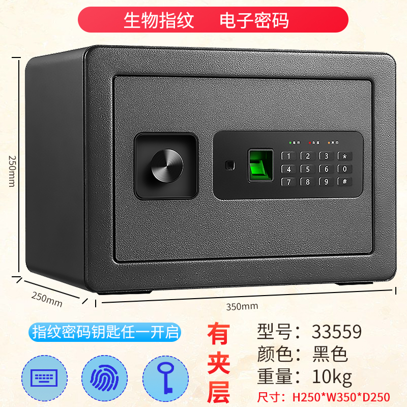 33559 NEW BLACK / FINGERPRINT IDENTIFICATION / ELECTRONIC PASSWORD / KEY