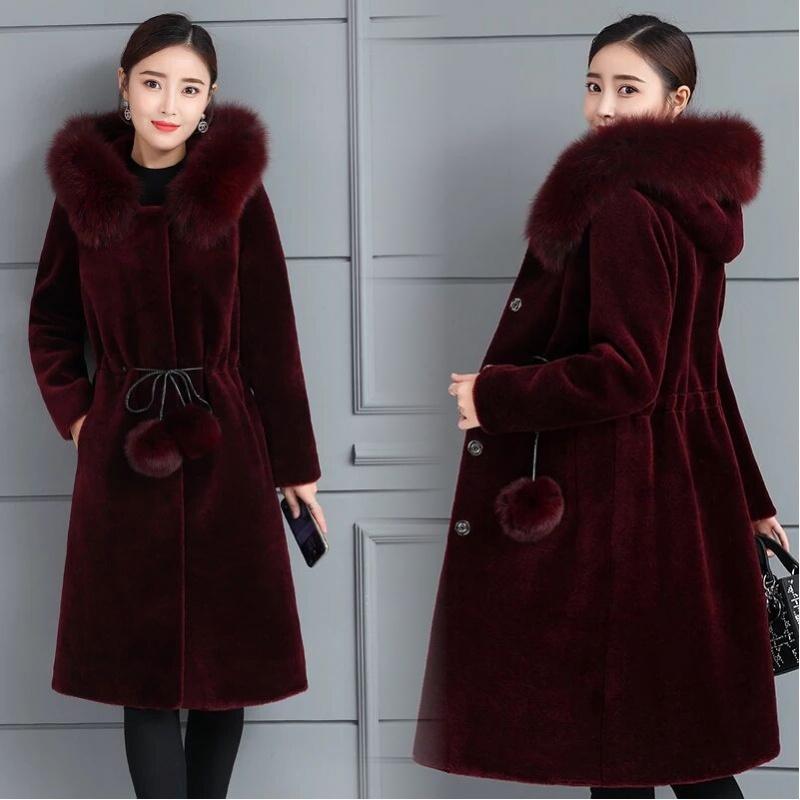 水貂绒外套女新款大码加厚貂皮大衣女中长款秋冬季仿皮草外套显瘦