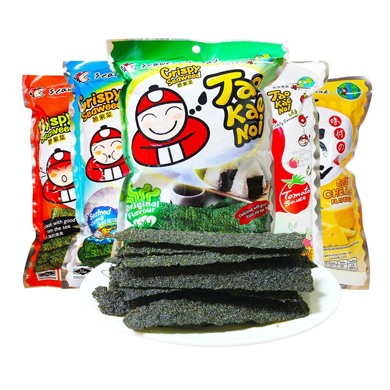 老板仔TAOKAENOI香脆海苔片泰国进口紫菜片网红大礼包零食32G*6包-给呗网