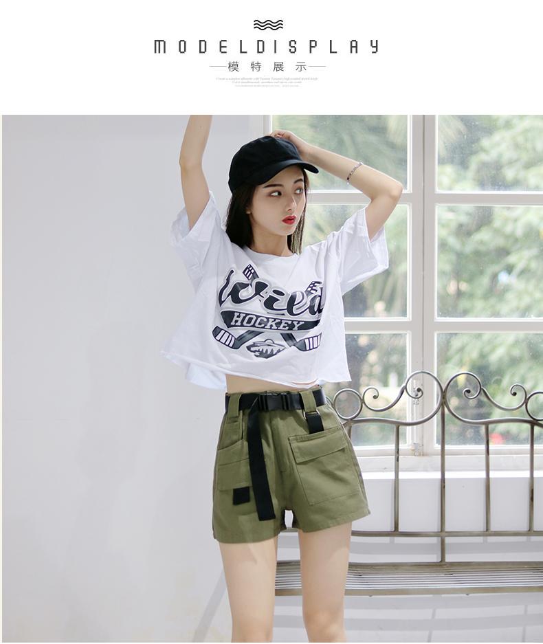 夏季工装短裤女显瘦高腰新款韩版宽鬆休閒裤子港风为于演详细照片