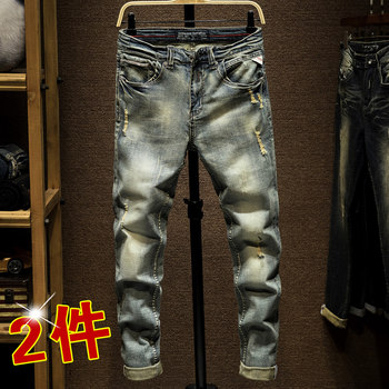 Europe station retro gray autumn and winter high-grade hole stretch jeans male tide brand fashion pants feet