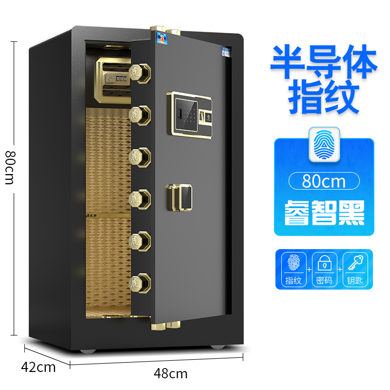 80 SINGLE DOOR WISE BLACK (FINGERPRINT + PASSWORD + KEY)
