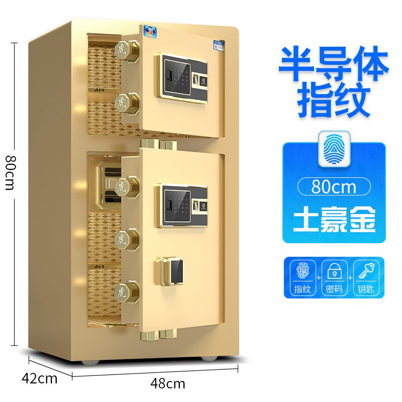 80 DOUBLE DOOR LOCAL GOLD (FINGERPRINT + PASSWORD + KEY)