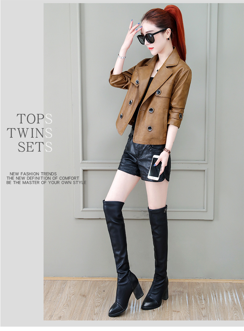 Locomotive jacket women 2020 new autumn and winter fashion small air fried street short spring and autumn small leather jacket tide 62 Online shopping Bangladesh