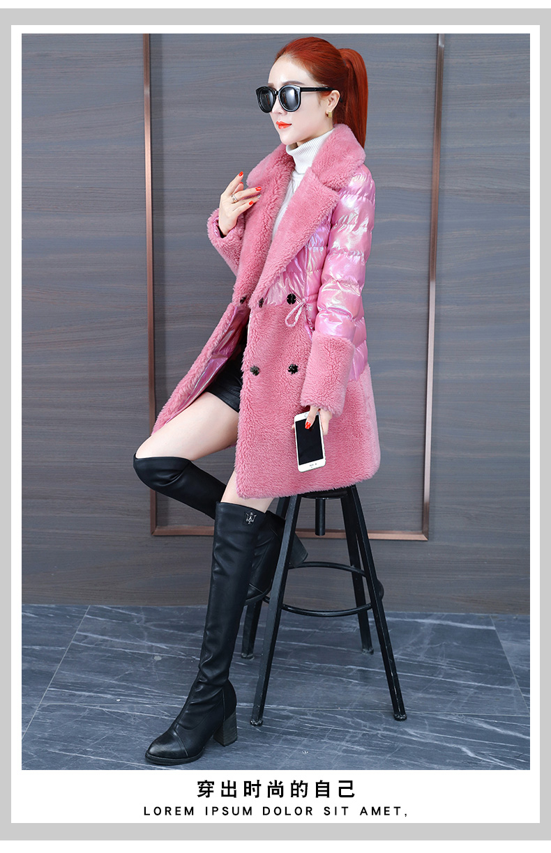 Colorful bright leather down cotton clothing tide 2020 new women's thick bright-faced cotton clothing in the long winter lamb wool cotton wool 56 Online shopping Bangladesh