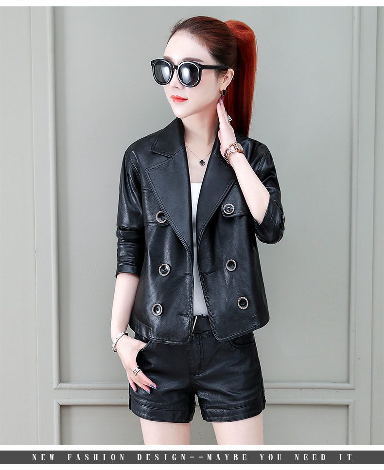 Locomotive jacket women 2020 new autumn and winter fashion small air fried street short spring and autumn small leather jacket tide 57 Online shopping Bangladesh
