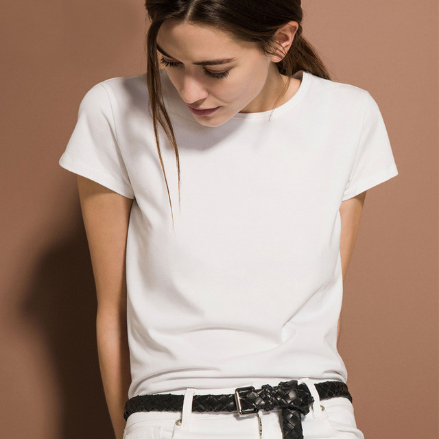 Spot high-end Spanish simple female short-sleeved pure white T-shirt Slim round neck with thin cotton bottoming shirt
