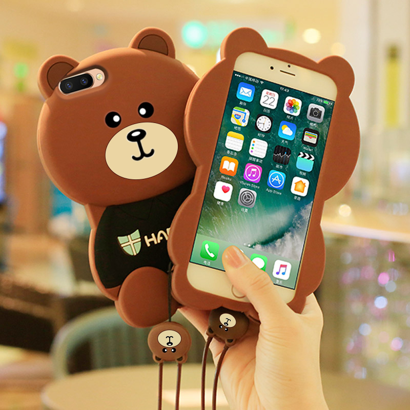 熊oppor11s手机壳r9 s女款挂绳r15梦境版卡通软壳oppor9s plus潮0PP0r17硅胶软边r17pro