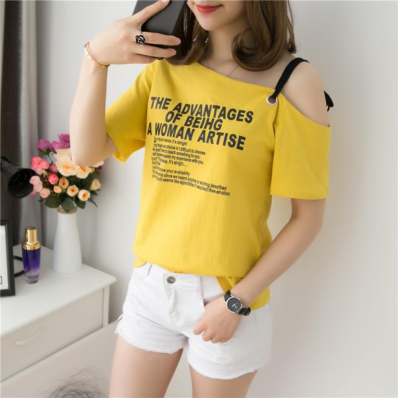 2019新款上衣夏装韩版一字领短袖T恤女ins潮学生宽松吊带露肩上衣