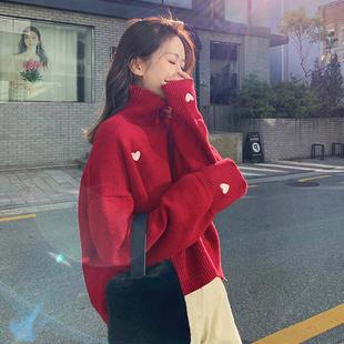 新款韩版爱心高领圣诞毛衣女宽松外穿慵懒风红色套头针织情侣装厚