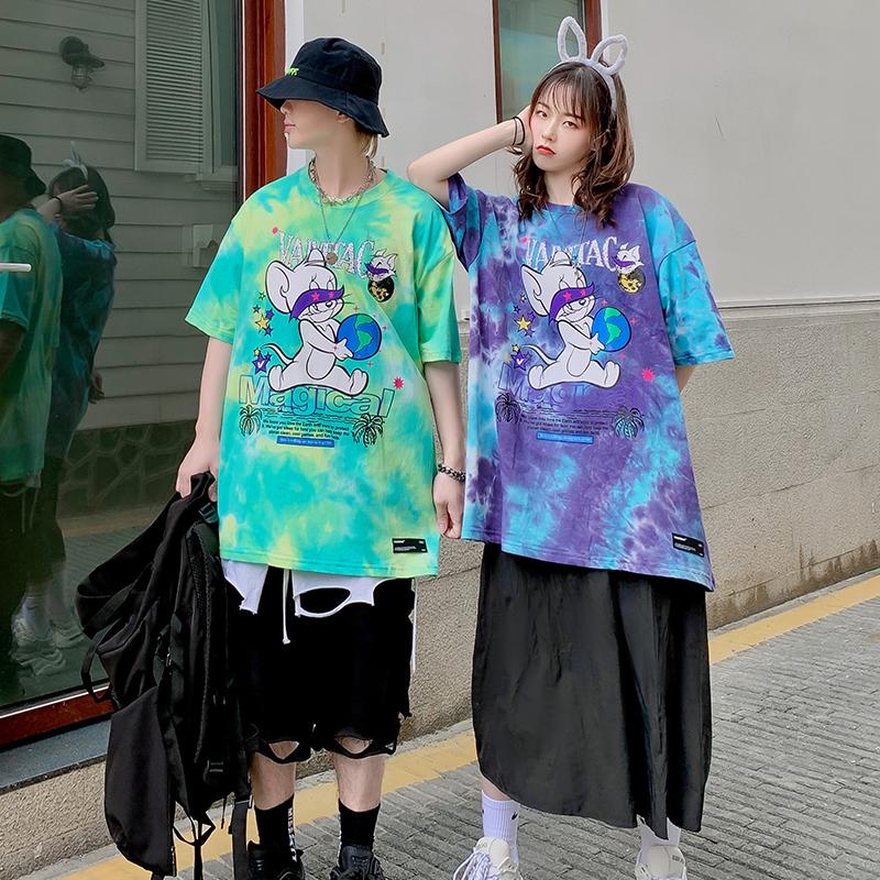 Cặp đôi mèo và chuột ngắn tay áo thun nữ thương hiệu thời trang lỏng lẻo phong cách Hồng Kông tie-dy từ bi nam nửa tay thời trang phong cách Harajuku - Áo phông ngắn