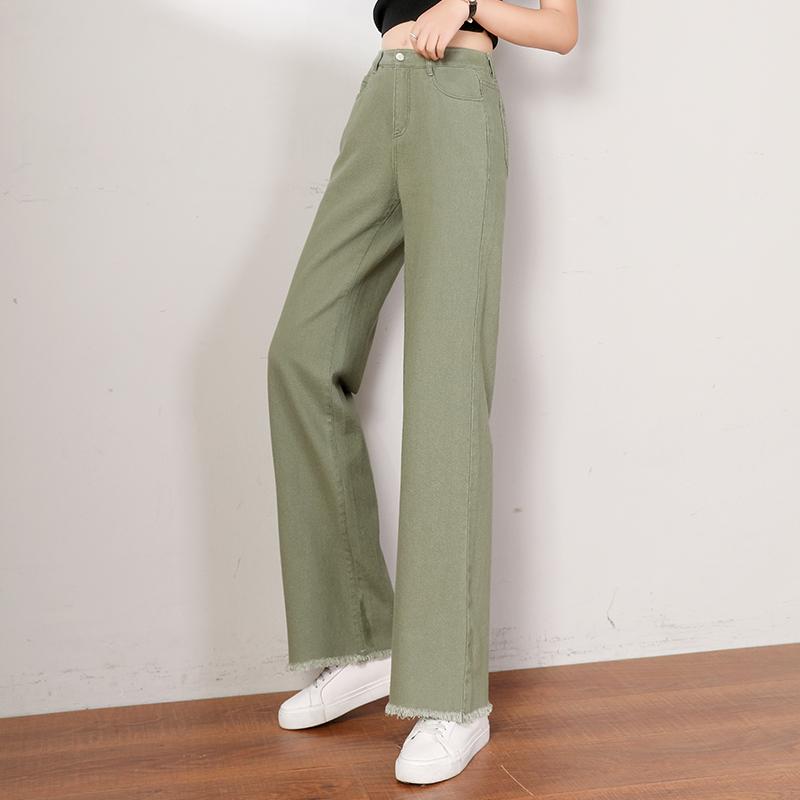 毛边直筒牛仔裤女2020新款高腰显瘦裤子垂坠感长裤修身棉阔腿女裤
