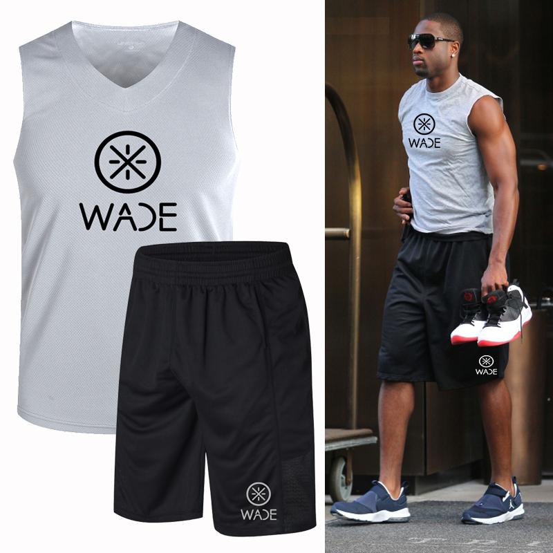 韦德运动套装男士夏季无袖跑步背心短裤宽松运动服速干透气健身服
