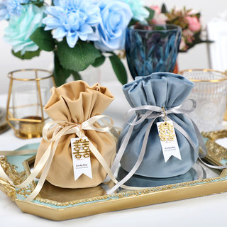 Western candy box creative wedding sugar box wedding box gift boxed wire velvet bag candy bag high-end sugar box brown sugar bag