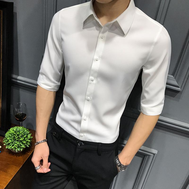 白色衬衣外套2019洋气新款男士七分中袖潮韩版短袖痞帅衬衫男修身
