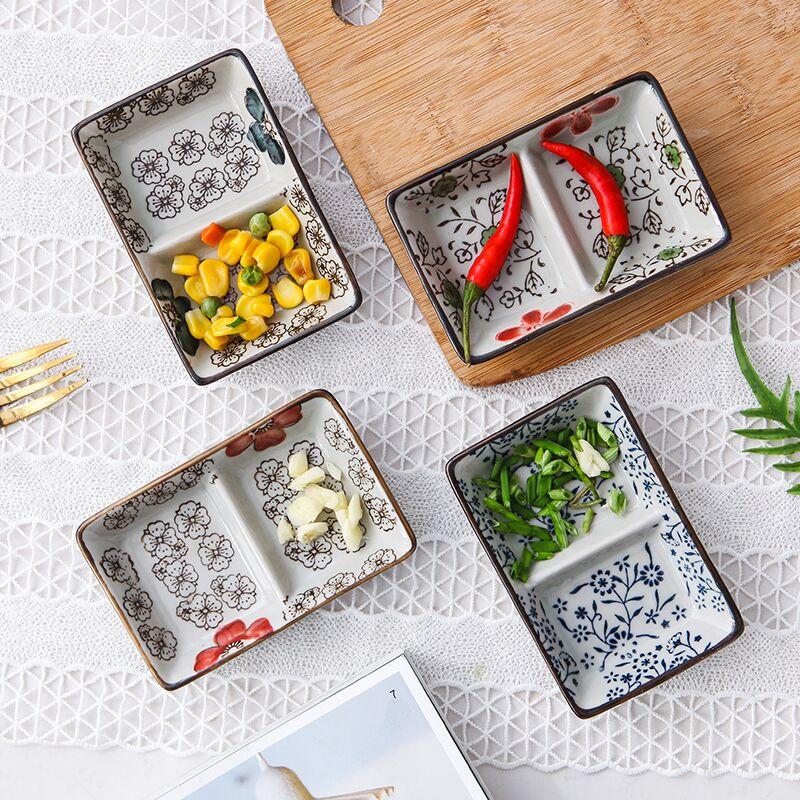 日式釉下彩!创意家用分隔餐盘