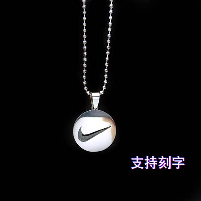 Necklace men's trendy ins hip-hop women's titanium steel lettering pendant accessories earth cool tick tide jump di couple round brand chain