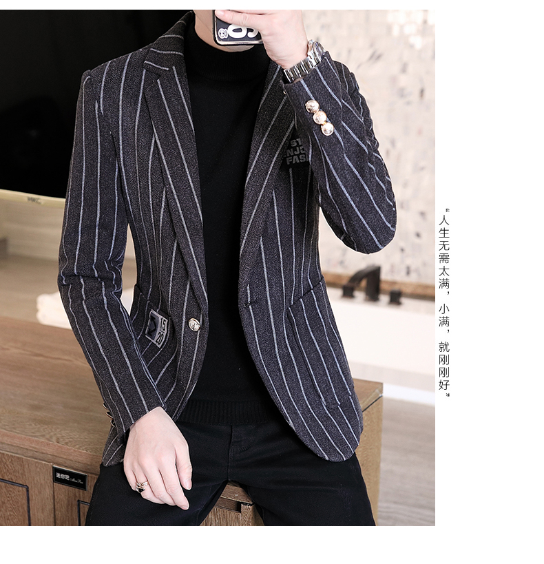 Trendy suit men's plush jacket Korean version handsome autumn and winter hair and striped small suit thickened top 58 Online shopping Bangladesh