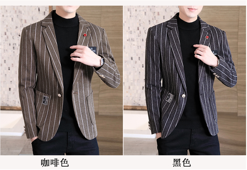 Trendy suit men's plush jacket Korean version handsome autumn and winter hair and striped small suit thickened top 49 Online shopping Bangladesh
